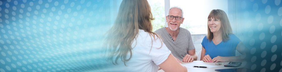 Senior couple meeting with insurance agent